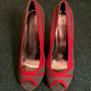stiletto red and grey heals open toe 7 1/2